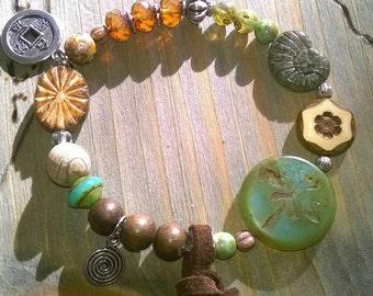 Armband⭐boho style⭐Glasperlen, Jasper wood beads