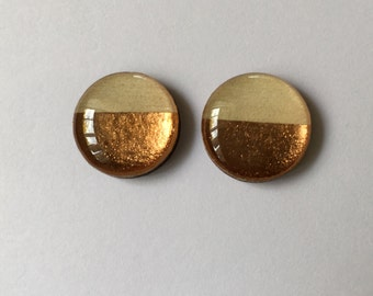 15mm Rose Gold Glossy Wood/Resin Studs