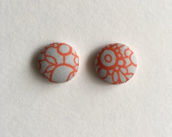 15mm Fabric Studs • Grey/Orange • Surgical Steel • fabric stud earrings • button studs • button earrings