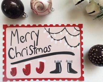 Merry Christmas Post Card Set, Illustrated Christmas Cards, Holiday Post Card Set, Merry Christmas Card Handmade, Merry Christmas Invitation