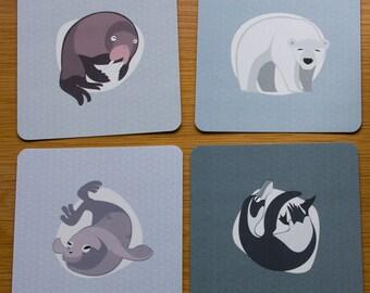 4 postcards of arctic and polar animals ( seal, polar bear, penguin and walrus ), illustration, print (12x12 cm)
