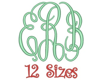 Master Circle Monogram Embroidery Font 12 Sizes Machine BX Embroidery Fonts Embroidery Monogram Fonts 3 Letter Monogram - Instant Download
