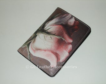 High Quality Faux Leather Passport Holder Case (Pink Rose)