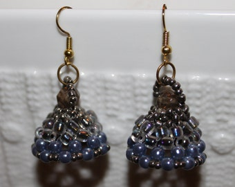 Grey pearl beaded handmade earrings; beadweaving