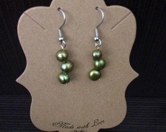 Olive beaded dangle earring