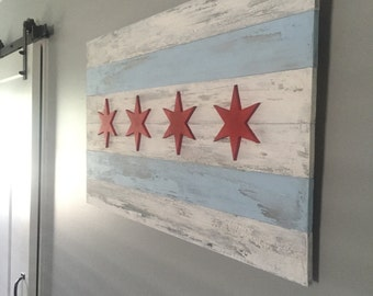 36 x 21 - Chicago Wood Flag
