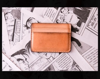 natural vachetta vegetable leather credit card wallet