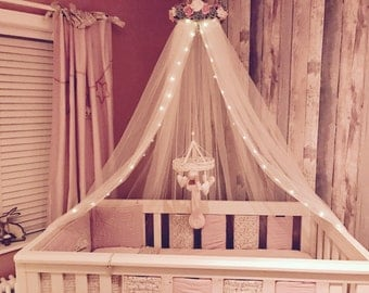 Bespoke bed canopy, nursery, cot canopy, girls princess bedroom, reading nook, Pink, Grey and White
