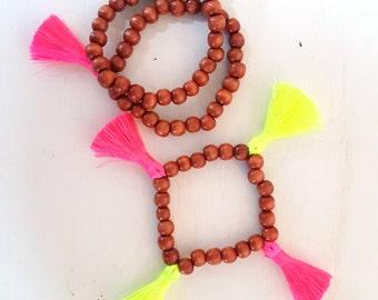 Neon tassel bracelet