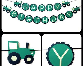 Happy Birthday banner, green tractor themed happy birthday banner,  tractor birthday banner, tractor Birthday party, farming tractor party