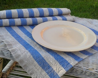 Thin Striped Blue Natural Linen Placemats | Set of 6
