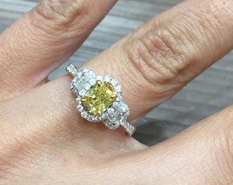 0.94 Ct. Fancy Yellow Cushion Cut Diamond Engagement Ring 14k Gold Vintage Style