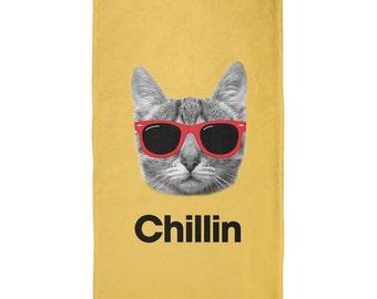 Chillin Cat Orange All Over Plush Beach Towel