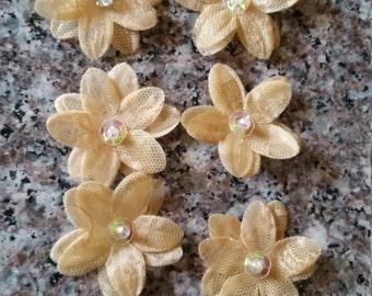 Tan Lace Sequin Flowers