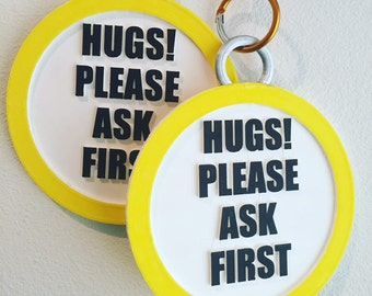 """Fursuit Collar Tag- """"Hugs! Please Ask First!"""""""