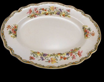 Meadowsweet Oval Platter by Old Staffordshire by Johnson Brothers, England from 1930s