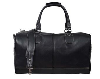 """Leather Duffle Bag BLACK 22""""  Large Weekend Bag Holdall Bag Travel Bag Gym Bag Cabin Permissible Bag Overnight Bag New"""