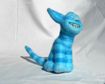 Blue Grinning Cat, Needle felted, Handmade, Soft sculpture