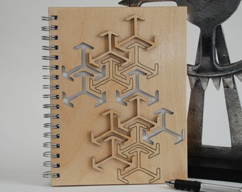 Wood spiral Notebook... Arrows