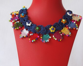 hand-knitted necklace