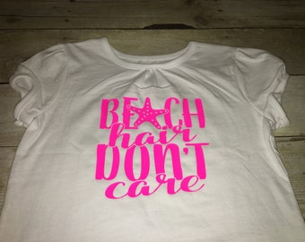 Beach hair don't care toddler tshirt