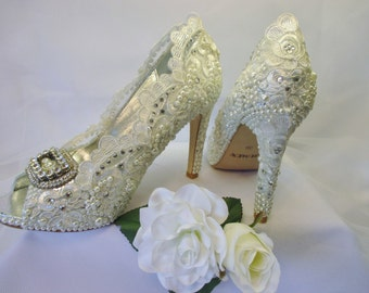 Ivory Lace Bridal Shoes