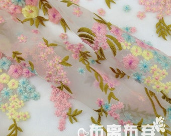 Embroidered Organza Fabric Coloful Flower Lace Fabric for Prom Dressmaking,Clothing Handcraft