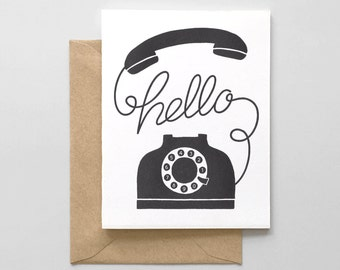 Hello Phone Letterpress Greeting Card