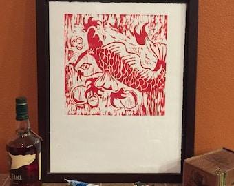 Koi - Original Block Print