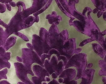 Upholstery Fabric - Radcliffe - Grape - Lurex Burnout Velvet Damask Upholstery & Drapery Fabric by the Yard - Available in 23 Colors