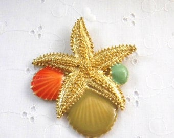 Large Starfish and Shell Brooch, Summer Brooch, Nautical Brooch, Beach Brooch, Gold Coral and Green Brooch, Vintage Brooch