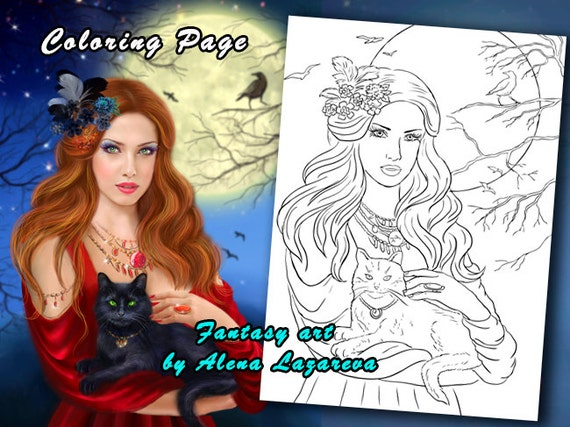 Coloring Page, Beautiful woman and black cat