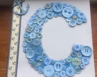 Button art letter canvas