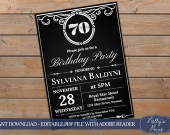 70th Birthday Invitation, Vintage Party Invitation, Adult Birthday Invitation, Adult Party Invitations, Self Editable PDF, Instant Download