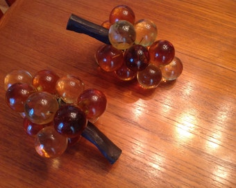 Pair of Mid Century Modern lucite grape clusters