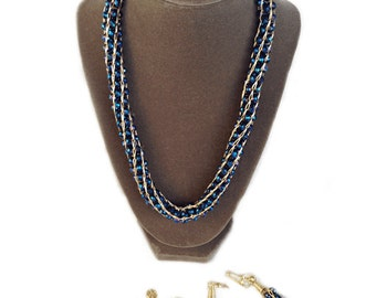 Necklace Set - Royalty Blue Crystals Necklace Set
