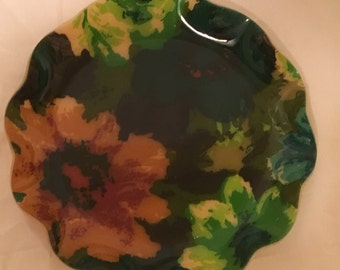 70's Fab-products green and floral tray