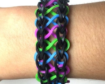 Infinity Loom Rubber Band Bracelet - Black, Blue, Green, Purple