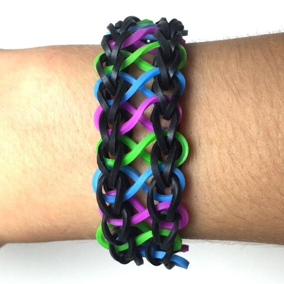 Infinity Loom Rubber Band Bracelet Black Blue Green