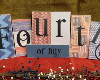Easter and Fourth of July Home Decorations - Seasonal Shelf Blocks - Affordable!