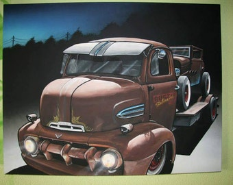 Rust on rust coe ford truck hotrod automotive artwork