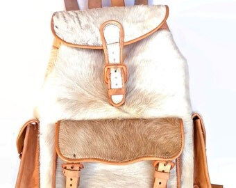 Cowhide Calfskin Leather Backpack