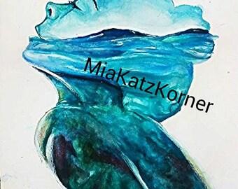 watercolour download, lady silhouette, blue ocean woman