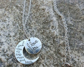 I love you on the moon and back necklace