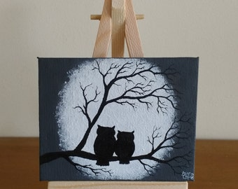 Abstract Original Acrylic on Mini Canvas Owls on a Branch Whimsical Silhouette Black & White Moon with Small Mini Easel Painting Art