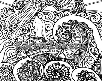 Mermaid Sun, 1 Adult Coloring Book Page, Printable Instant Download
