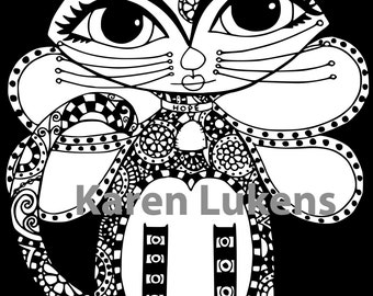 Happy Kittycat, 1 Adult Coloring Book Page, Printable Instant Download