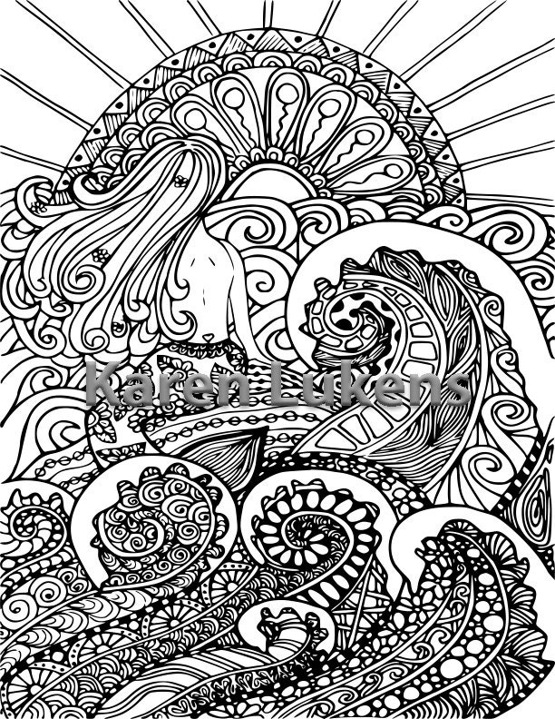 mermaid coloring pages adults - mermaid sun 1 adult coloring book page printable instant