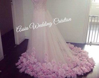 Flower wedding dress available in different color