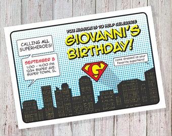 Superhero Birthday Invitation (DIGITAL FILE)